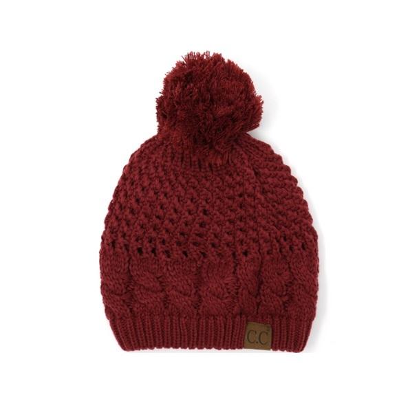 97652afbe2f74f Crane Clothing Co Accessories | Burgundy Crochet Pom Cc Beanie ...